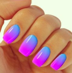 OMG I LOVE these nails! highlighter colours blue/purple #naildesign
