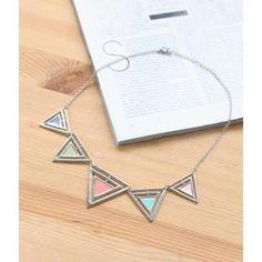 Triangle Segments Necklace Multicolor - One Size Jewelry Stores, Arrow Necklace, Triangle, Blue Diamonds, Silver, Shopping, Accessories, Fashion, Moda