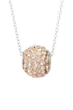 Sterling Silver Champagne Swarovski Crystal Bead Necklace