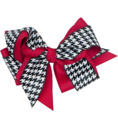 Our Rags Land Houndstooth/Crimson French Clip Bow! Shop NOW at www.ragsland.com
