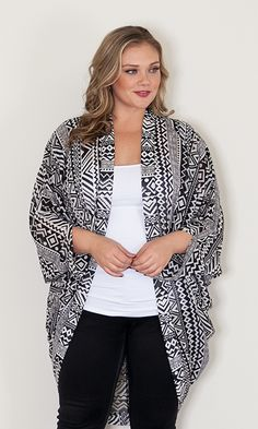 Wren Kimono - Geometric Black and White at Curvalicious Clothes#bbw #curvy #fullfigured #plussize #thick #beautiful#Sexy #fashionista #style #fashion #shop #online www.curvaliciousclothes.com TAKE 15% OFF Use code: TAKE15 at checkout