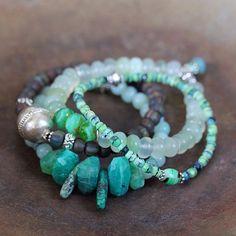 Amazonite and Turquoise Bracelet Set Exotic by ArtiqueBoutiqueShop
