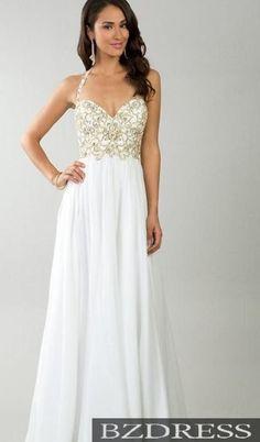 Column dress white and gold