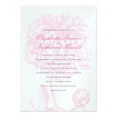 Lush Pink Peony Wedding Invitation from Zazzle.com