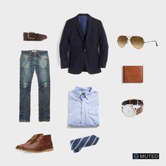 ** MENS OUTFIT IDEAS #67 ** This outfit is perfect for going to work and heading right out to the bar and dinner. It starts off with the classic J. Crew Ludlow Blazer which is pa...