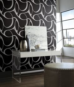 65 Trendy Bedroom Black And White Silver Living Rooms White And Silver Wallpaper, Geo Wallpaper, Metallic Wallpaper, Wallpaper Patterns, Wallpaper Designs, Bathroom Wallpaper, Wallpaper Samples, Silver Living Room, Living Rooms