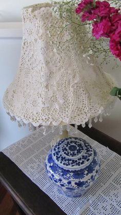 Lace covered lampshade. I was thinking even layers of thinner lace one on top of another. Or ruffles.