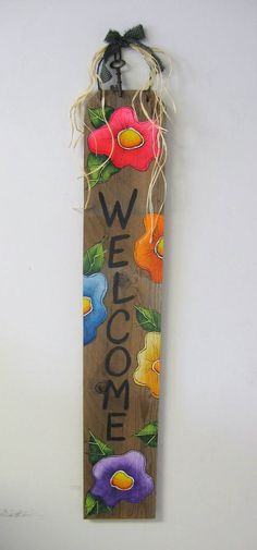 Funky Colorful Flowers Welcome Sign Barn Wood by barbsheartstrokes,