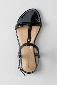Women's Naomi Flat T-strap Sandals (in Black) (Lands' End)