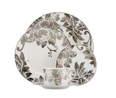 Silver Applique Dinnerware Set