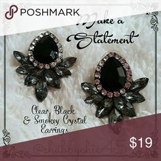 Classy Statement Earrings-Make a Statement MAKE A STATEMENT! Beautiful classic earrings in a unique design of  smoke, clear and black crystalline beads. Add a touch of class to any outfit. Perfect with a variety of styles from jeans and crew neck tee to lacy evening wear. They are approximately 1.25 inches tall. Just the style to make your trend setting statement!  ??Smoke free home. No trades. Open to reasonable offers unless marked as firm. Happy Poshing!!?? Boutique  Jewelry Earrings
