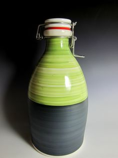 Ceramic Growlers 64oz, large flip top lid, craft beer carrier, pottery, 5 glaze colors by handmadegrowlers on Etsy