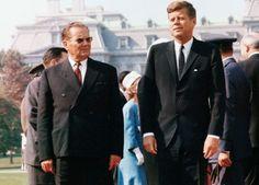 17 Oct 1963 — President John F. Kennedy walking with Josip Tito, Communist president of Yugoslavia, October 17, 1963. — Image by © CORBIS