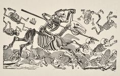 "José Guadalupe Posada, ""Don Quixote's Skeleton"" (1910-13) - (courtesy Blanton Museum of Art, the University of Texas at Austin, the Karen G. and Dr. Elgin W. Ware, Jr. Collection)"
