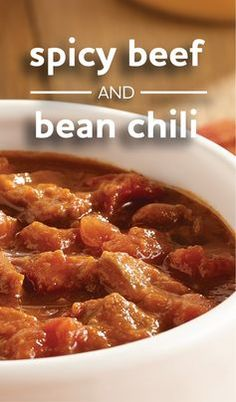 Spicy Beef and Bean Chili   A slow cooker recipe for a flavor-packed chili with cubed beef, seasoned pinto beans and diced tomatoes with green chilies