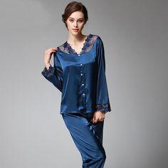 Ssh037 Spring Autumn Women Satin Silk Pajama Set Sleepcoat Sleep Pant High  Quality Lady Nightdress Female Sexy Sleepwear Pajamas e7e99aade