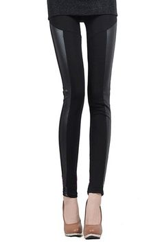 PU Panel Black Leggings