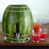 Have you ever added vodka to a watermelon? This recipe takes it one step further. Hollow out a watermelon, then add a spigot. Fill the melon husk with punch and serve. I love this idea for a of July party. Minus the vodka so the kids can enjoy. Snacks Für Party, Party Drinks, Fun Drinks, Party Recipes, Luau Party, Mixed Drinks, Cocktail Parties, Fruity Drinks, Vodka Drinks