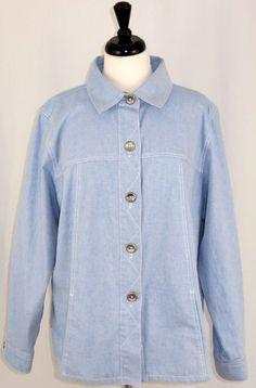 Womens Jean Jacket Susan Graver Bleached Denim Silver Buttons Size 1X…