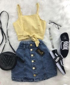 Clothes For Girls - red denim skirt - Fashion Ideas Girls Fashion Clothes, Trendy Clothes For Women, Teen Fashion Outfits, Mode Outfits, Girly Outfits, Outfits For Teens, Pretty Outfits, Fashion Ideas, Skirt Outfits