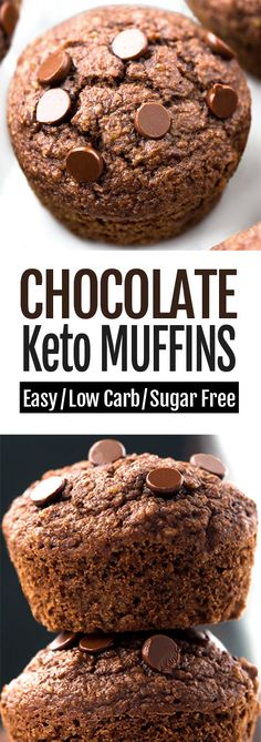 These super fudgy keto chocolate muffins are a perfect healthy breakfast or snack! 7 Ingredients Healthy Breakfast Easy To Make Vegan & Gluten Free Options The chocolate muffins are great… Healthy Chocolate Muffins, Chocolate Frosting Recipes, Sugar Free Chocolate Chips, Low Carb Chocolate, Baking Chocolate, Chocolate Truffles, Vegan Chocolate, Chocolate Cake, Healthy Low Carb Recipes