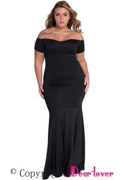 Black Plus Size Off Shoulder Fishtail Maxi Dress