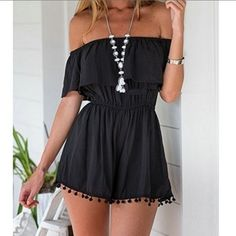 Cute Hipster Outfits : Black,Off Shoulder,Elastic Waist,Pom Pom,Romper,Playsuit… Look Fashion, Teen Fashion, Fashion Outfits, Womens Fashion, Hipster Outfits, Fashion 2017, Gothic Fashion, Modest Fashion, Dress Fashion