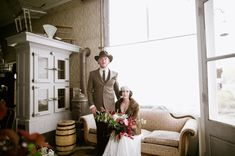 Vintage inspired bride and groomPhotography   Our Love Is Loud Style   Laurel + Rose Flowers   Lale Floral Designs Venue   Bread Bar + Dram Apothecary