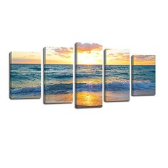 Framed Canvas Art Prints Wall Decor Landscape Sea Photo Oil Painting Wall Art Canvas Painting Print For Home Decoration 5 Panels Sunrise on Sea >>> Continue to the product at the image link. (This is an affiliate link) Framed Canvas, Canvas Art Prints, Painting Prints, Canvas Wall Art, Sea Photo, Home Wall Decor, Creative Decor, Voss Bottle, Sunrise