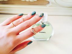 Nails, accessories, nail art, style, green, gold, Chanel,