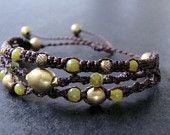 Macrame boho bracelet - olive jade micro macrame bracelet - beaded macrame bracelet - boho - bohemian - hippie