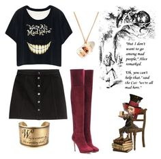 """""""Alice in T-Shirtland"""" by hastypudding ❤ liked on Polyvore featuring And Mary, H&M, Jimmy Choo, Alice, fashionset, AmiciMei and dbycontest"""