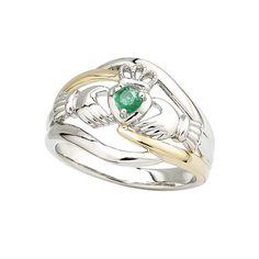 Claddagh Ring aus 14 Karat Weißgold und Gold