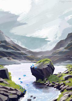Lake, rocks, mountain and blue birds Fantasy Art Landscapes, Fantasy Landscape, Landscape Art, Landscape Paintings, Environment Painting, Environment Concept Art, Landscape Illustration, Illustration Art, Illustrations
