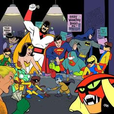 Hello my name is BRAAAAAAAAAK!!!   Oh, and there's Moltar and that Space Ghost fellah.  Robin, be careful.....