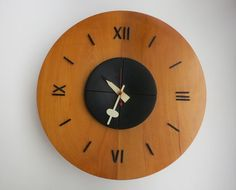 Vintage George Nelson Clock Wooden Wall Clock Model 4758 Made by Howard Miller