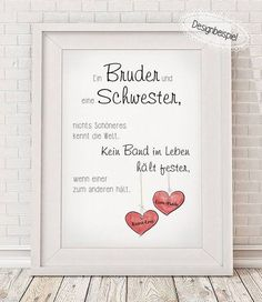 """_""""BRUDER & SCHWESTER""""_ **Bitte beim Kauf alle relevanten Daten mit angeben:** ~… _ """"BROTHER & SISTER"""" _ ** Please specify when buying all relevant data: ** ~ name ~ If a different color for the heart is desired, then synonymous in the checkout with … Gifts For Brother, Brother Sister, Funny Sister, Brother Birthday, Baby Love Quotes, Boy Quotes, Family Quotes, First Day School, Mother Quotes"""