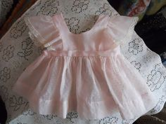 """LOVELY Vintage Pink Dotted Swiss Sundress or Pinafore Dress with White Lace Edge Ruffled Sleeves. Shown in pics 9 and 10 on an 18"""" Tiny Tears doll over her own dress to show how it would fit."""