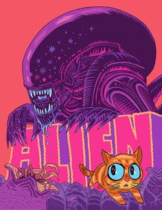 Dan Hipp's alien rendition works pretty well and the typeface is centered and part of the composition.