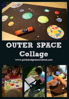 Have kids draw/paint their own planets/stars first, then while they dry they can work on the starry background with crayons, light colored pencils, paint. Then cut out the stars/ planets and glue on. They can also add aliens/astronauts/spaceships.