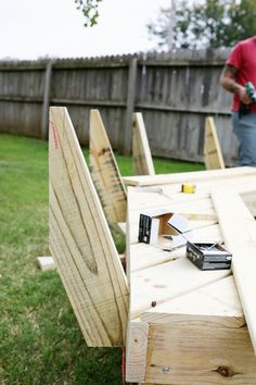 He wanted to make his fire pit seating even better, so he began to assemble a back to the bench.