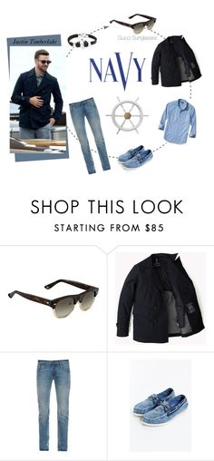"""""""Justin Timberlake Navy Style"""" by visiondirect ❤ liked on Polyvore featuring Gucci, Dolce&Gabbana, Sperry, COVERGIRL, Banana Republic, men's fashion, menswear, celebrity, navy and TOMFORD"""