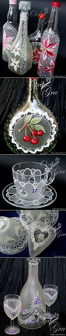 Painted dishes with the effect of lace such talent