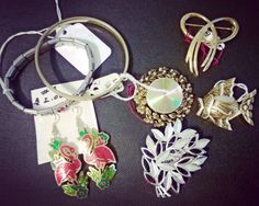Some vintage pieces: bracelets, brooches, and earrings.