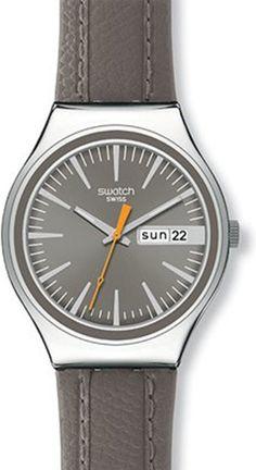 Swatch Men's Irony YGS745 Brown Calf Skin Quartz Watch with Grey Dial #swatch #watch #tarazz