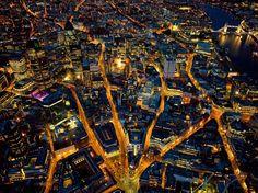 London, England, aerial view on Christmas Eve, 2012.