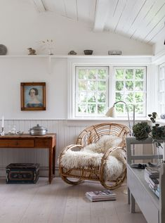 my scandinavian home: My Day At A Charming Danish Cottage By The Sea (white home with blend of rattan, antiques and vintage finds.