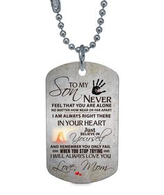 Humorous To My Son Learn From Everything You Can Stainless Steel Dog Tag Pendant Necklace Love Mom For Son Man Boy Birth Memorial Jewelry Jewellery & Watches