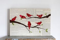 "Bird on Branch Decor, Bird Wall Art, Woodland Animal Art, Nursery Paper Art Birds Mounted on Birch Panel, 12""x18"""