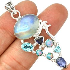 Moonstone, Blue Topaz, Fire Opal & Iolite 925 Silver SP215715 | eBay